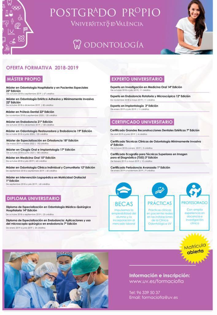 OFERTA FORMATIVA DE POSTGRADO DE LA UNIVERSITAT DE VALÈNCIA 2018-2019 @ Universitat de València