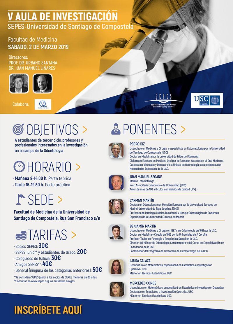 V AULA DE INVESTIGACIÓN-SEPES @ Facultad de Medicina de la Universidad de Santiago de Compostela