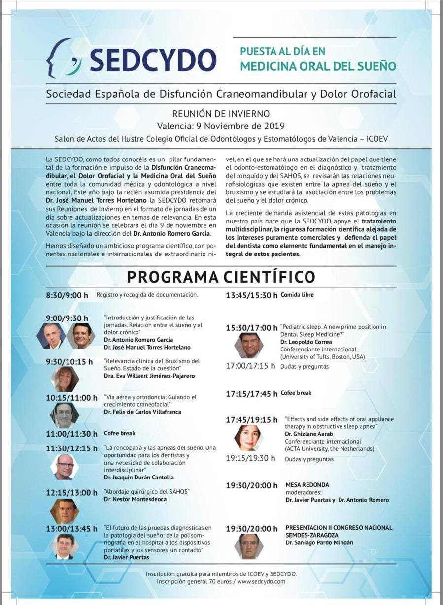 REUNIÓN DE INVIERNO SEDCYDO-PUESTA AL DÍA EN MEDICINA ORAL DEL SUEÑO @ Salón de Actos del ICOEV-Valencia