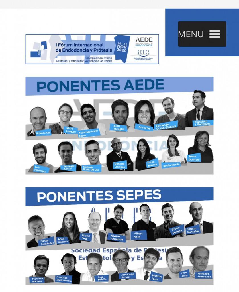 I FÓRUM INTERNACIONAL DE ENDODONCIA Y PRÓTESIS  20-21 NOVIEMBRE AEDE SEPES