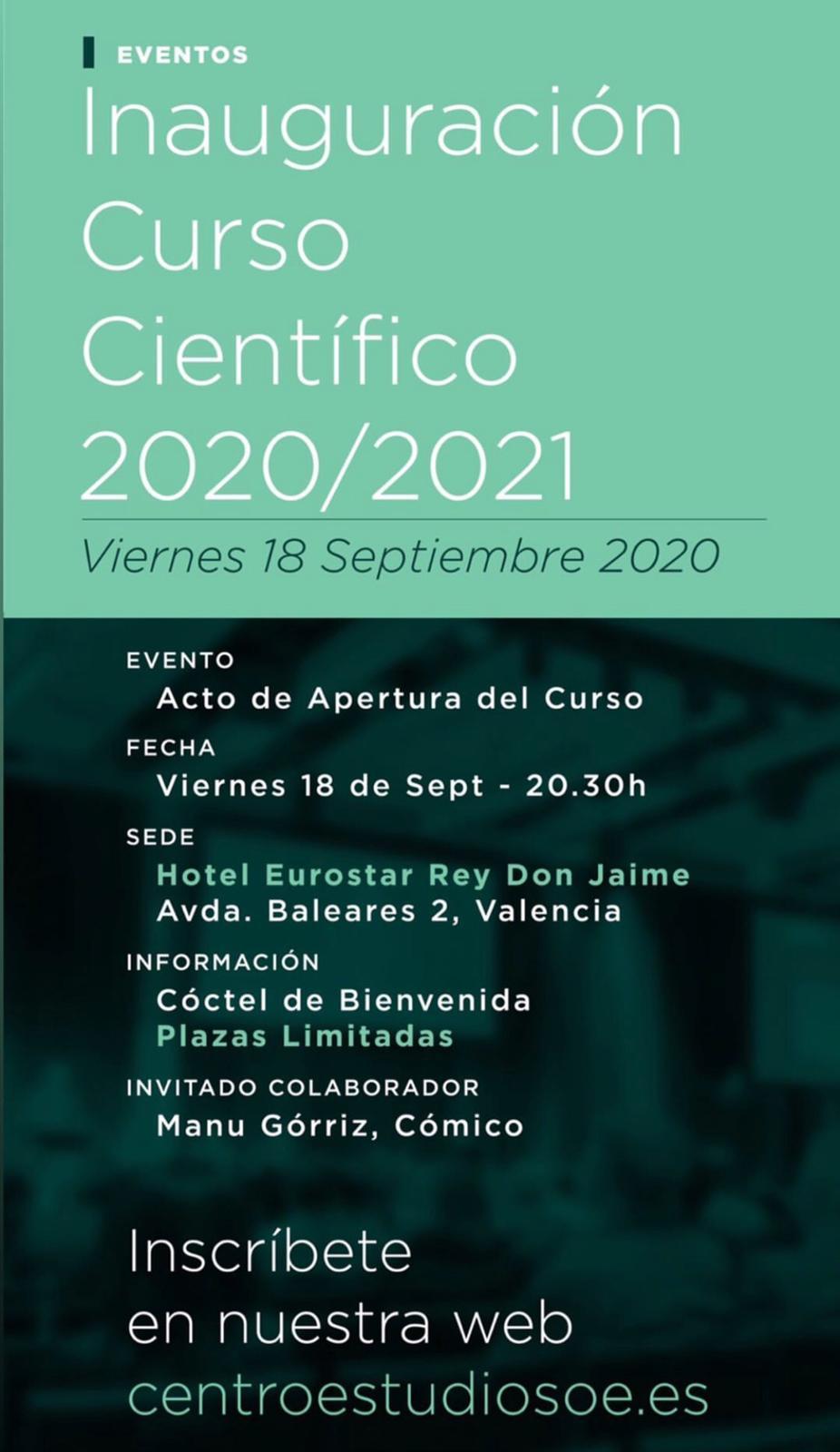 CENTRO ESTUDIOS ODONTO-ESTOMATOLÓGICOS DE VALENCIA Acto de apertura Curso Científico del CEOE 2020-2021 @ Hotel Eurostars Rey Don Jaime